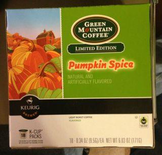 Keurig Pumpkin Spice Green Mountain Coffee 18 K Cups 1 New Box