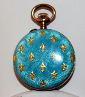 Antique Blue Gold Enamel 800 Coin Silver Swiss Pendant Necklace Watch