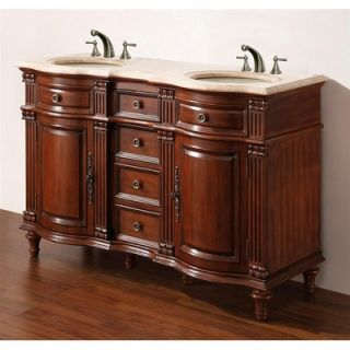 Legion Furniture 55 Solid Wood Double Sink Vanity   WM6554 55 BB