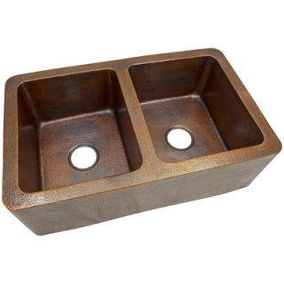 Hand Hammered Copper 34x 21 Large Double Bowl Farmhouse Kitchen Sink