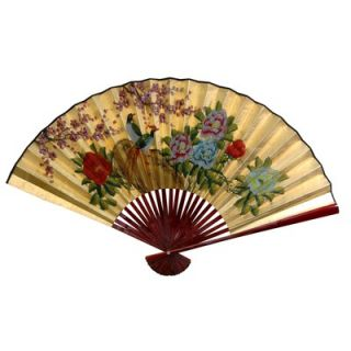 Oriental Furniture 30 x 48 Birds and Peonies Wall Fan in Gold Leaf