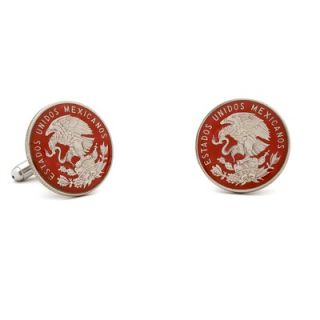 Penny Black 40 Hand Painted Mexico Coin Cufflinks   PB 360 SL