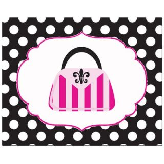 Secretly Designed Fashion Striped Handbag with Polka Dot Border Art