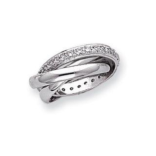 Jewelryweb Sterling Silver CZ Rolling Ring   QTR77064SS / QTR77065SS