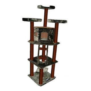 Kitty Mansions 75 Redwood Cat Tree in Green and Brown