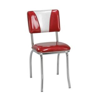 Retro Roundabout Dining Chair In Bright Chrome Set Of 2 Vinyl Omni Scarlet