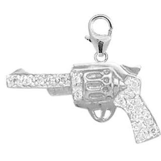 EZ Charms 14K White Gold Diamond Pistol Charm