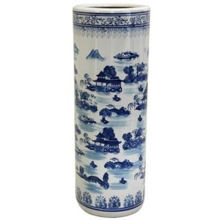Oriental Furniture Umbrella Stand with Blue Landscape Design in White