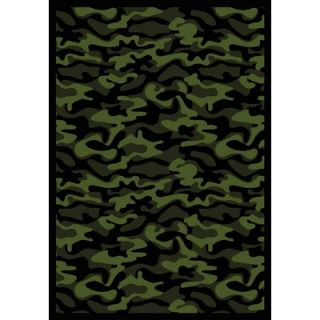 Joy Carpets Whimsy Funky Camo Camouflage Green Rug   1526x 02