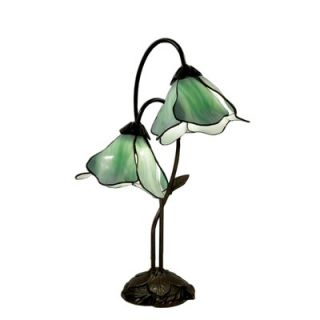 Tiffany Double Green Glass Table Lamp in Bronze   NSC08622GR 2 118