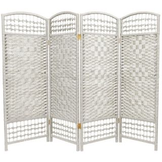 Oriental Furniture Fiber Weave 4 Panel Room Divider in Dyed White