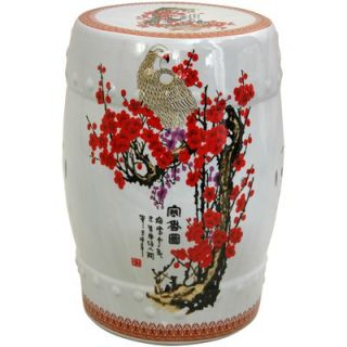Oriental Furniture Garden Stool with Cherry Blossom Design in White