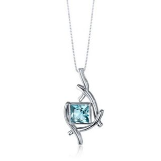 Oravo Artistic Design 2.00 Carats Princess Cut Swiss Blue Topaz