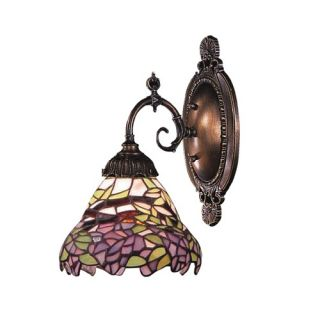 Mix N Match Wall Sconce in Tiffany Bronze with Multi Colored Leaves