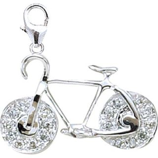 EZ Charms 14K White Gold Diamond Bicycle Charm