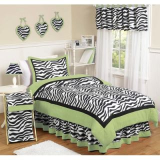 Sweet Jojo Designs Lime Funky Zebra 3 Piece Full / Queen Bedding Set