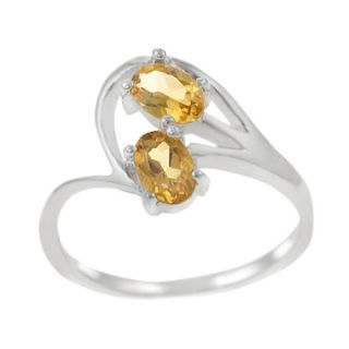 Skyline Silver Sterling Silver Two Oval Citrine Ring
