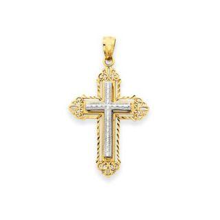 Jewelryweb 14k Two tone Fleur de lis Cross Pendant  Measures 18.6x32