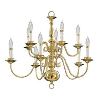 Quorum Ten Light Chandelier in Polished Brass   6171 10 2