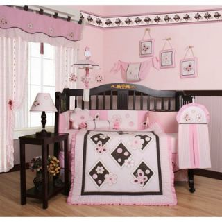 Geenny Boutique Butterfly 13 Piece Crib Bedding Set in Pink / Brown