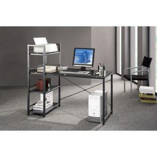 Techni Mobili Glass Top Computer Desk with 4 Shelf Metal Bookcase