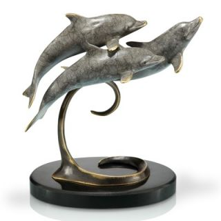 SPI Home Triple Dolphins on Marble Base Sculpture