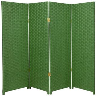 Oriental Furniture Woven Fiber 4 Panel Room Divider in Light Green
