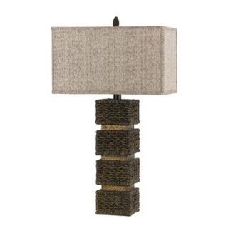 Cal Lighting Slatina Resin Wicker Table Lamp in Dark Rattan