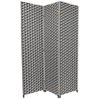 Oriental Furniture Woven Fiber 3 Panel Room Divider in Black and White