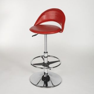 Chintaly Adjustable Swivel Stool with Round Seat in Red   6126 AS