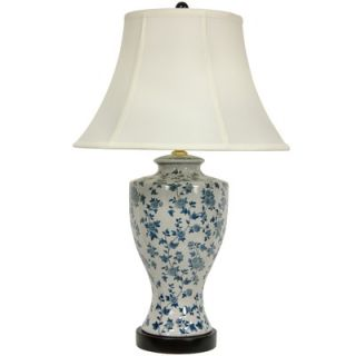 Oriental Furniture Flower Vine Lamp in Blue and White Glaze