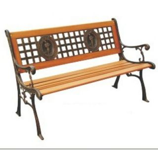 DC America Fisherman Wood and Cast Iron Park Bench   SL675CO BR