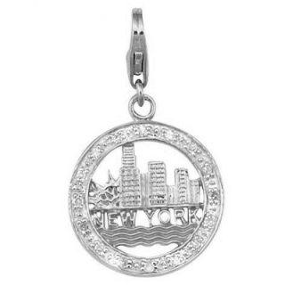 EZ Charms 14K 1.3 Grams White Gold Diamond 0.08Ct New York Charm