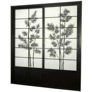 Oriental Furniture Bamboo Tree Shoji Sliding Door Kit in Black