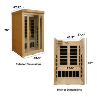 Crystal Sauna 2 Person Infrared Sauna with Seven Carbon Heaters