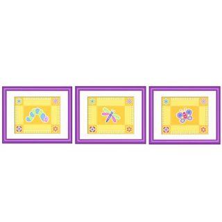 Olive Kids Flower Land Print with Purple Frame