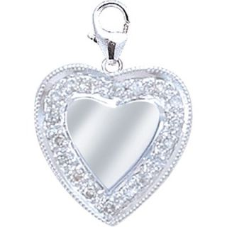 EZ Charms 14K White Gold Diamond Heart Disc Charm