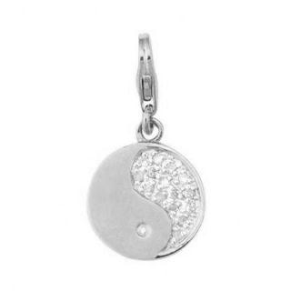 EZ Charms 14K 1.25 Grams White Gold Diamond 0.08Ct Yin Yang Charm