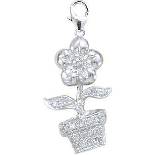EZ Charms 14K White Gold Diamond Flower Pot Charm