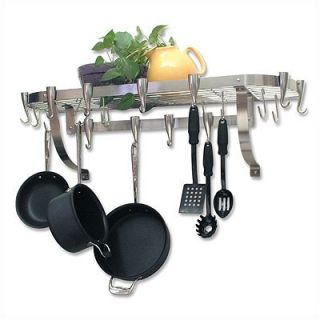 Concept Housewares Large Wall Stainless Steel Pot Rack   NP 40903