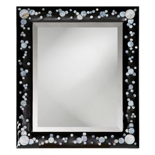 Howard Elliott Nassau Wall Mirror in Black Lacquer with Mother of