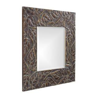 Howard Elliott Vines Square Framed Mirror in Deep Merlot