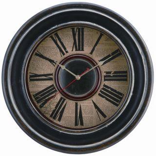Cooper Classics Mckenna Wall Clock in Distressed Black