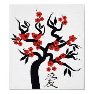 Red Love Birds and Chinese Love Symbol On Blooming Sakura Cherry Tree