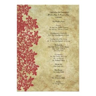 Vintage Red Queen Anns Lace Wedding Program Custom Announcements