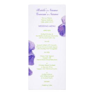Purple Iris green Wedding Menu Custom Announcements