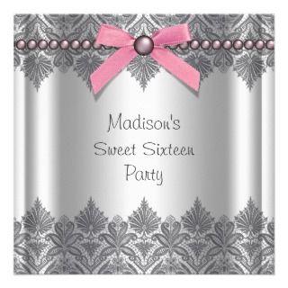 Pink Gray Sweet 16 Birthday Party Invitations
