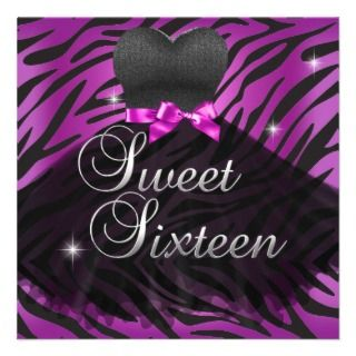 Sweet Sixteen Sweet 16 Pink Black Zebra Dress Custom Invitations