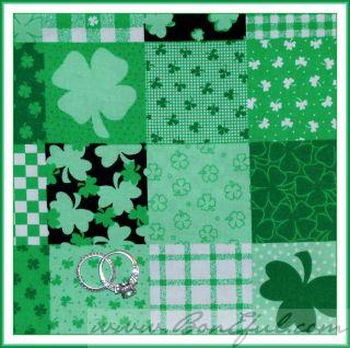 BOOAK Fabric Irish ST Patricks Day Leaf Clover Green VTG OOP Snoopy