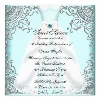 Teal Blue Dress Teal Sweet 16 Birthday Party Personalized Invitations
